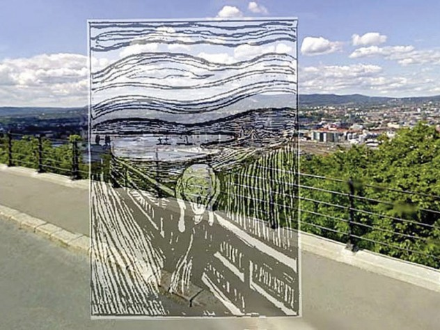 Edvard Munch's 1895 lithograph of <i>The Scream</i> superimposed on its natal site, a road called Valhallveien overlooking Oslo from the south