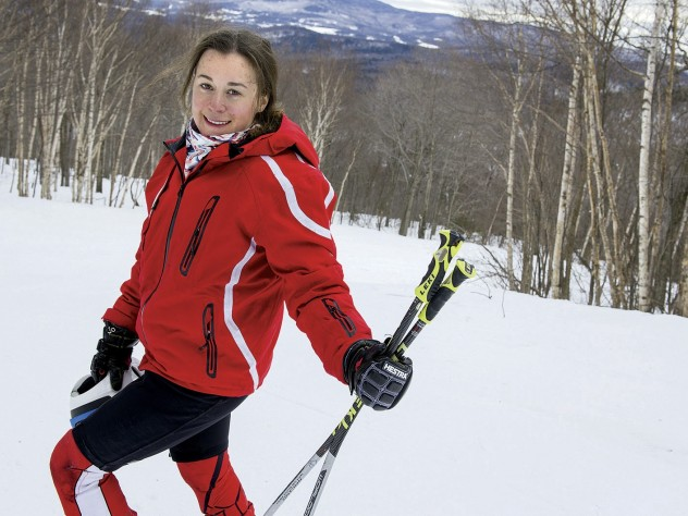 Ready for a training run: Rebecca Nadler at the top of a trail at Sugarbush Resort in Vermont