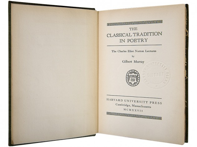 The first Norton Lecture (1927), by Gilbert Murray, professor of Greek at Oxford