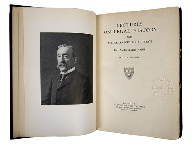 Legal history by James Barr Ames, the first book to bear the Harvard University Press imprint (1913)