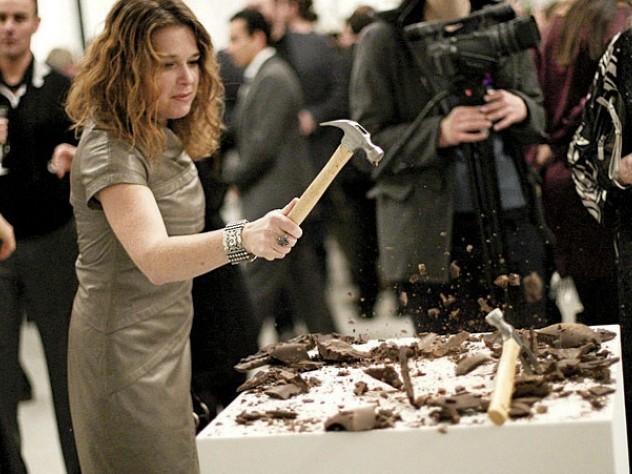 A participant smashes a chocolate bunny.