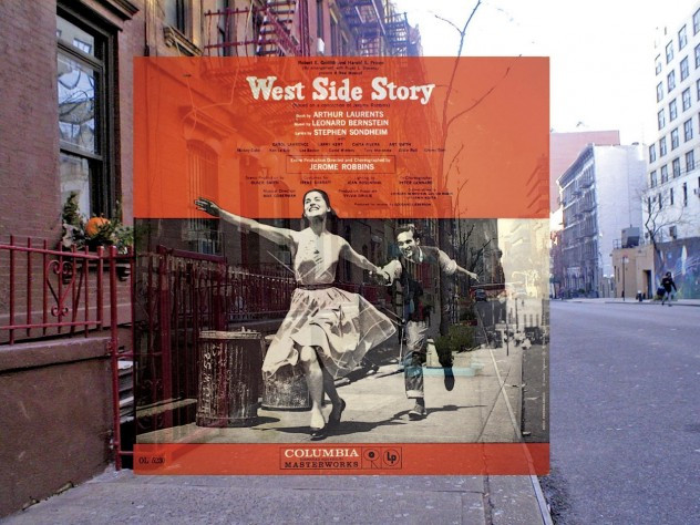 The <i>West Side Story</i> cover superimposed on the place where it was originally photographed.