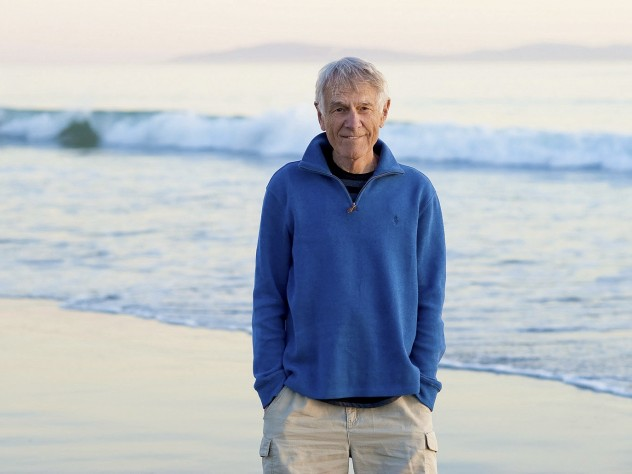 """Philip Slater, who says he's """"addicted to the ocean,"""" on his morning walk in Santa Cruz, California"""