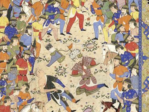 &ldquo;Rustam Mourns the Dying Suhrab,&rdquo; from a manuscript of the <i>Shahnama,</i> by Firdawsi, at the Harvard Art Museums
