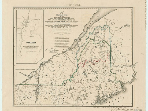 Map of the boundary lines between the United States and the adjacent British provinces, drawn by Thomas Jefferson Lee, published for the United States House of Representatives (Washington D.C., 1843)