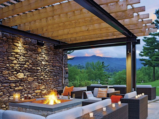 Topnotch's outdoor lounge has a roaring fire and mountain views.