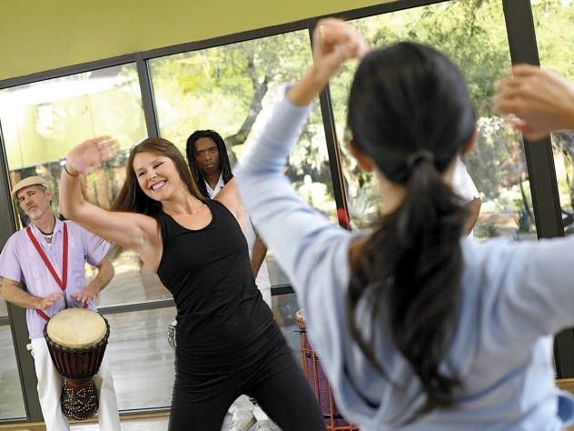 Boogie down at a dance fitness class at Canyon Ranch.