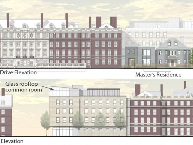 The renovation of Winthrop House includes plans for a five-story addition to Gore Hall at Plympton and Mill streets.