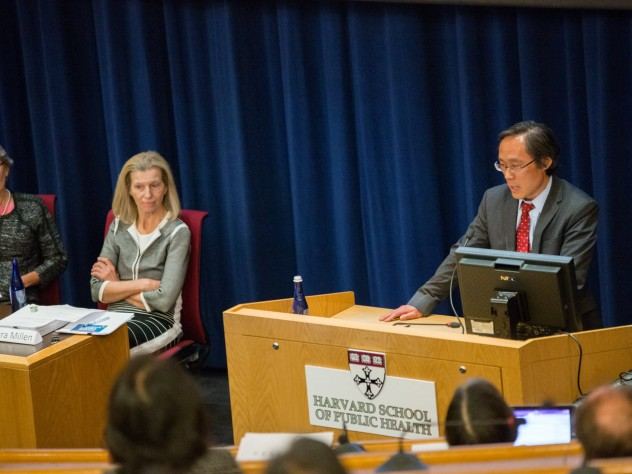 DGAC committee member Frank Hu presents research as colleagues Miriam Nelson (far left) and committee chair Barbara Millen listen.