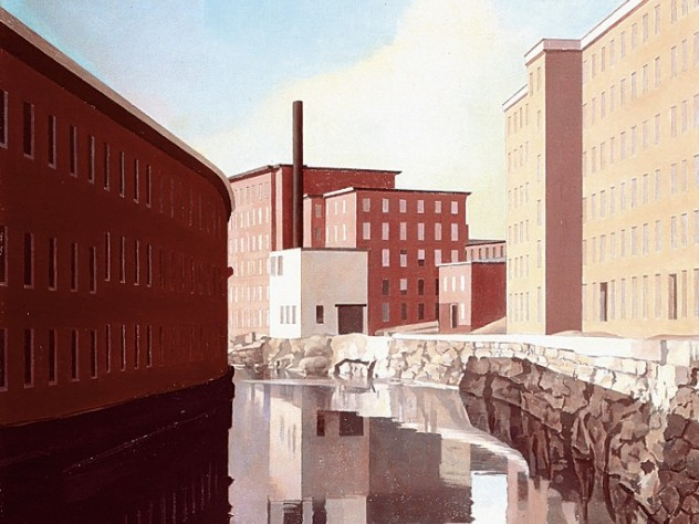 Charles Sheeler's serene view of the <i>Amoskeag Canal</i> (1948), another work in the Currier Museum's collection