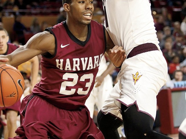 Wesley Saunders '15, in action against Arizona State, is Harvard's leading scorer and best playmaker.
