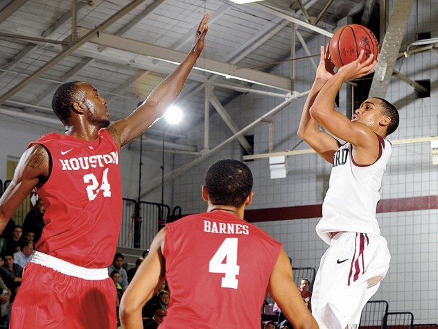 "According to Tommy Amaker, Siyani Chambers '16, shown here against Houston, is Harvard's ""most important"" player."