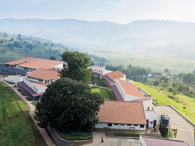An aerial view of MASS Design's Butaro Hospital, in rural Rwanda