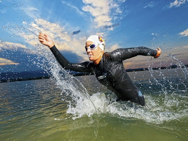 A triathlete in action