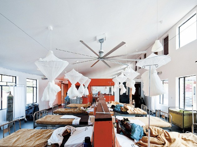 """A ward inside Butaro Hospital, which MASS Design chief operating officer Alan Ricks calls a """"proof of concept"""" for the value of design—for example, in reducing airborne-disease transmission rates."""