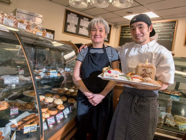 Hiroko Sakan and her son, Takeo, work together at their bakery, Japonaise.