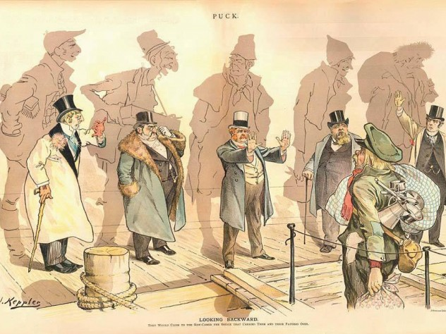"""The views of Charles William Eliot and Oliver Wendell Holmes Sr. (whose images follow) aided the descendants of immigrants in keeping out new immigrants, as depicted in Joseph Keppler's 1893 political cartoon """"Looking Backward,"""" from Puck."""