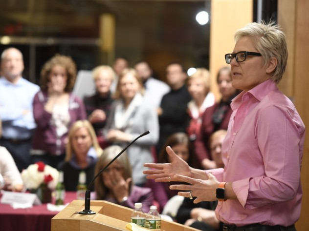 "Anna Collins '86, one of several former players who spoke at a reception celebrating the endowment of the women's basketball head coaching position, reminded attendees of the symbolic significance of their support: ""Words matter,"" she said, ""but money talks."""