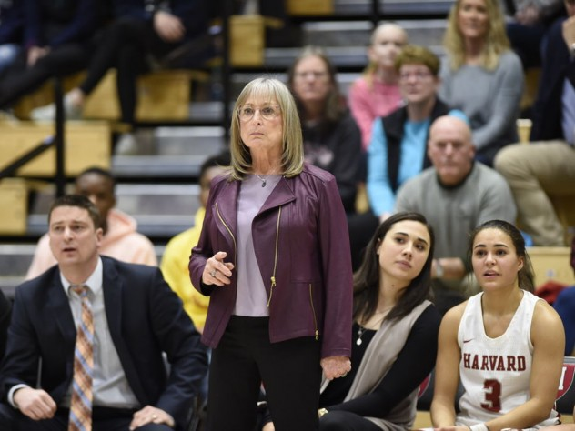Kathy Delaney-Smith (shown here during the January 19 win over Dartmouth) has helped her players navigate many off-court challenges.