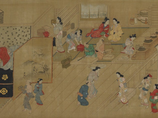 Painting of women and men preparing for evening guests at an inn in Edo's red-light district