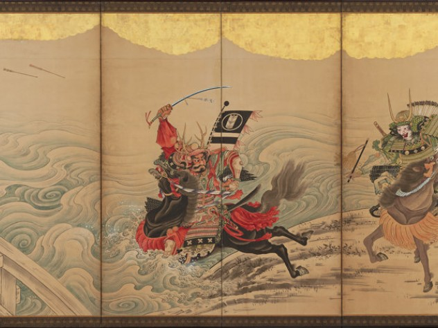 Two armored warriors race their horses along a foaming river