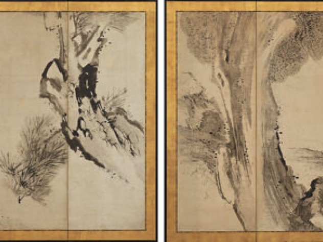 Drawings of the statesman Meng Jia losing his hat (left), and of the poet Su Shi in a rainstorm