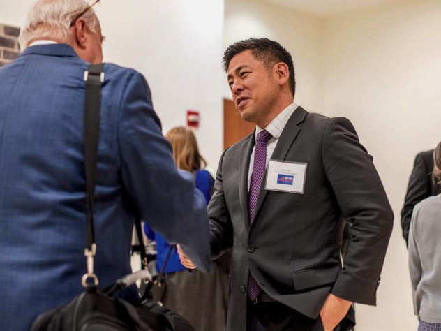Photograph of Steven Choi advocating for 2020 census count