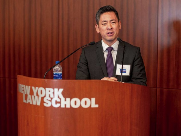 Photograph of Steven Choi advocating funding for 2020 census count