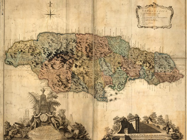 An original eighteenth-century colonial map of Jamaica