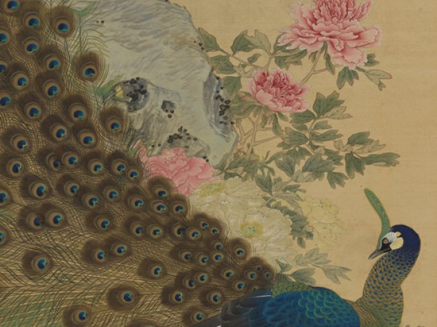 A painting of a male peacock in full plumage, with pink peonies in full bloom
