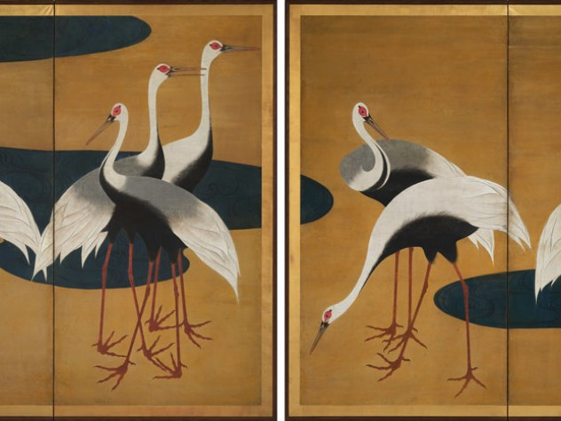 A grouping of Japanese cranes against a gold background