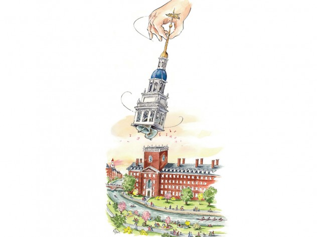 Mark Steele illustration of Lowell House's bells being rung for the first time by a giant hand stretching from a cloud to swing the detached belfry.