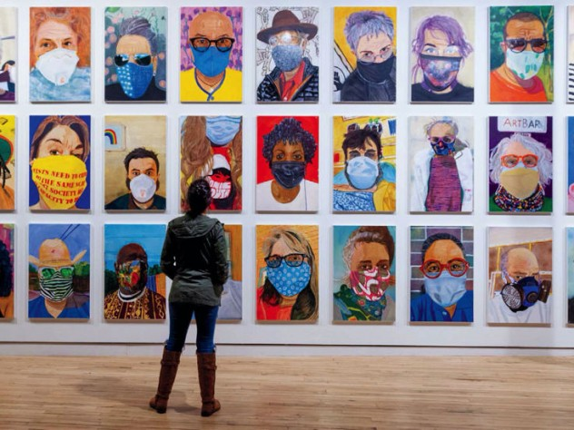 Zoom-like grid of colorful portraits of people in pandemic-era face masks.