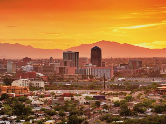 Photograph of the Tucson, Arizona, skyline and downtown taken at sunset.