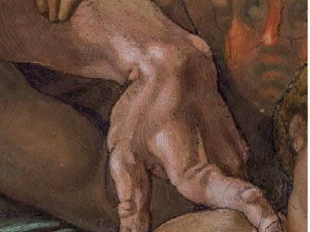 Michelangelo image of a weirdly bent index finger from the Sistine Chapel