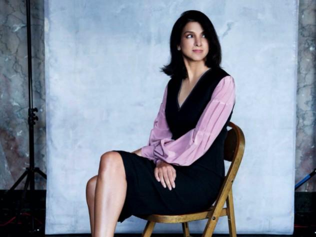 Vanity Fair editor-in-chief Radhika Jones poses stylishly in a studio