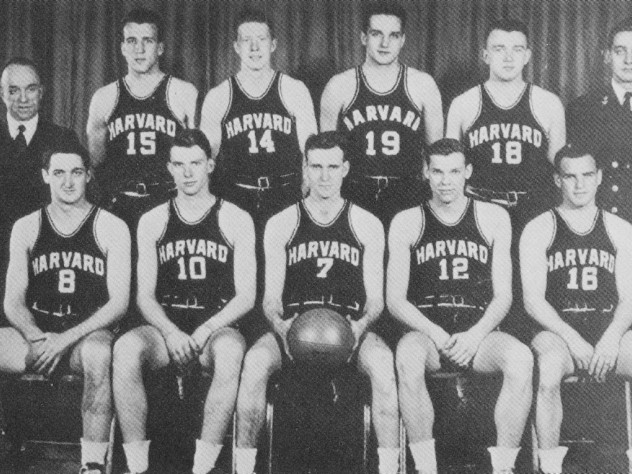 The 1946 team: Coach Stahl stands at left in back; Don Swegan wears #14, third from left.  [Jack Clark apparently missed the photo.]