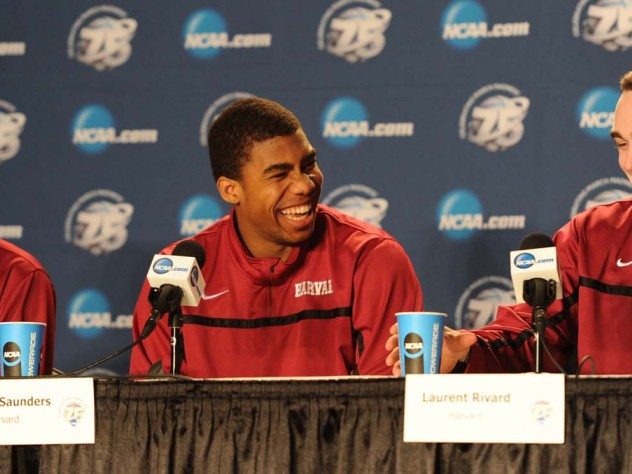 Webster, sophomore Wesley Saunders, and junior Laurent Rivard share their excitement at a press conference after the game.
