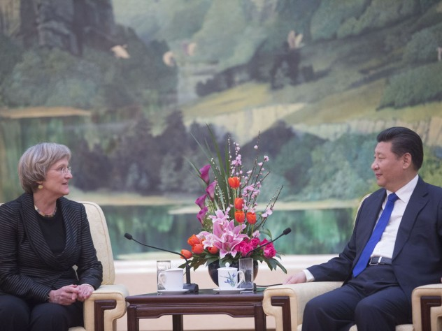 """President Faust and President Xi """"discussed a number of issues of mutual importance for China and Harvard,"""" according to a University announcement."""
