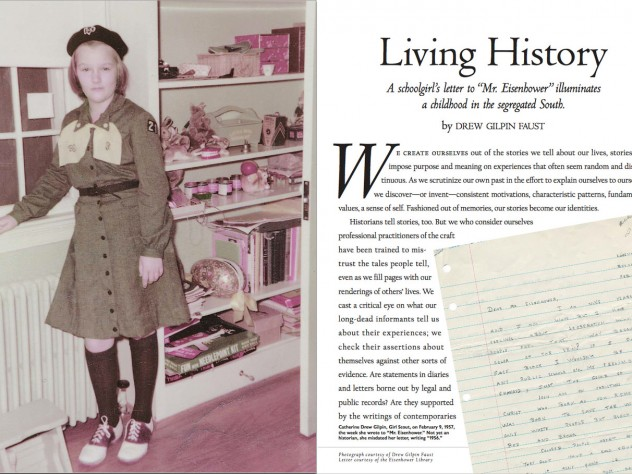 The opening pages from Drew Faust's 2003 essay on her girlhood in segregated Virginia; the text is linked below.