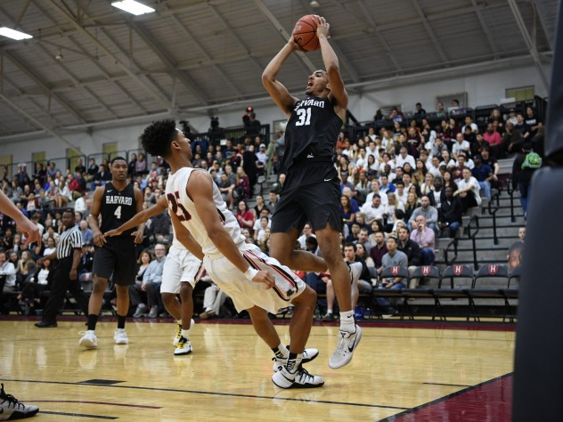 Seth Towns '20 (shown here in earlier action) led the Crimson with 26 points in a 73-69 loss at Princeton on Friday.