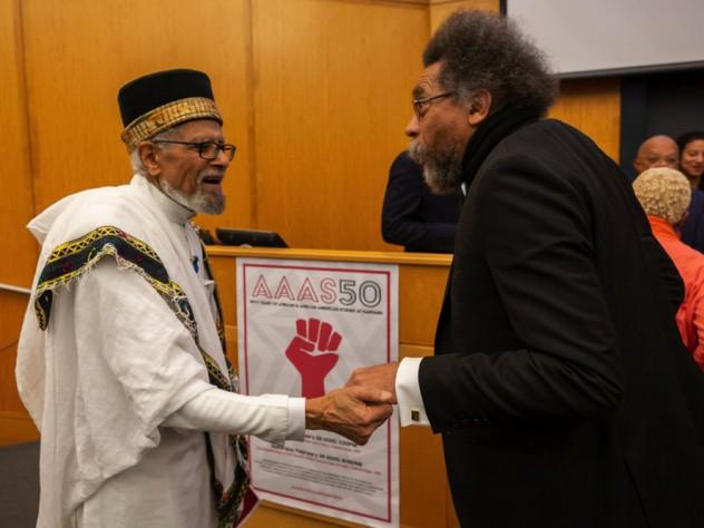 Former professor Ephraim Isaac and Cornel West