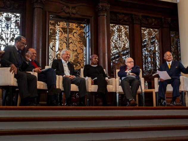 The founders panel: (from left) Lee Daniels '71, Orlando Patterson, Jeffrey Howard '69, Octavia Hudson '71, Henry Rosovsky, Henry Louis Gates Jr.