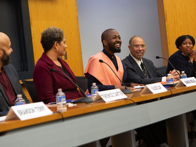 Terence Carter '01, Sulee Stinson Clay '92, Sangu Delle '10, Myles V. Lynk '71, and Sharifa Rhodes-Pitts '00