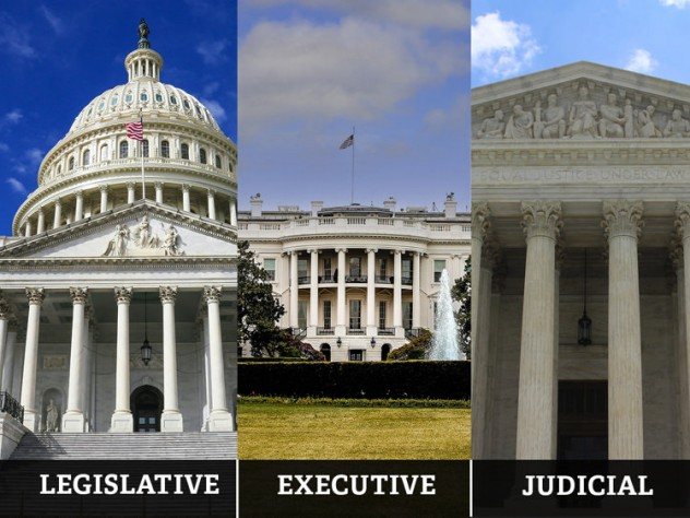 Photographs of the U.S. Capitol, the White House, and the Supreme Court, representing the three branches of government.