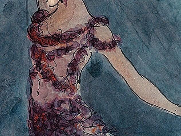 Vaslav Nijinsky as the Spirit in <em>Le Spectre de la Rose,</em> a 1911 portrait by Jean Cocteau