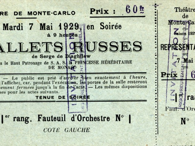 A ticket to Diaghilev's Ballets Russes, 1929