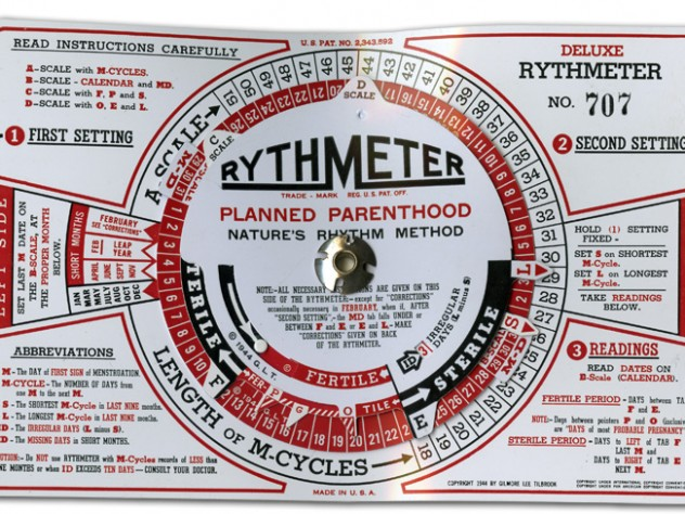 """The Rythmeter, circa 1944, came with a more complicated set of instructions than the earlier """"scientific prediction dial"""" (see next image), reflecting increasingly precise knowledge of human reproduction—knowledge that Rock played no small part in advancing."""