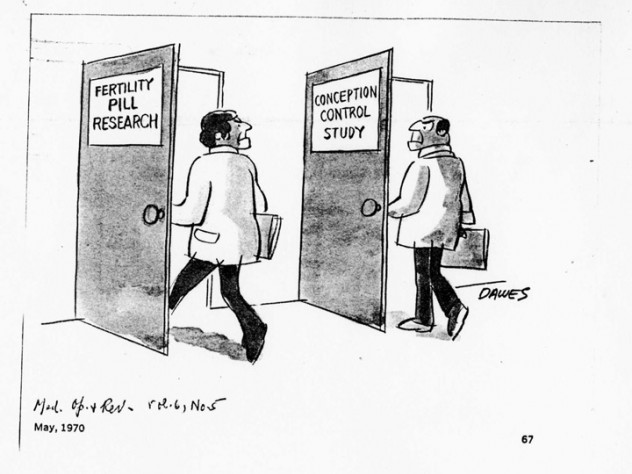This 1970 cartoon, found among Rock's papers, encapsulates his view that there was no inherent conflict in working on both fertility treatment and contraception—they were two doors into the same room.