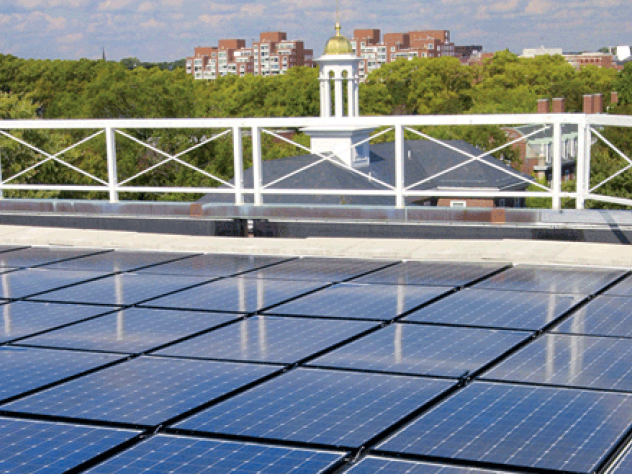 solar panels on the roof of the Business School's Shad Hall.